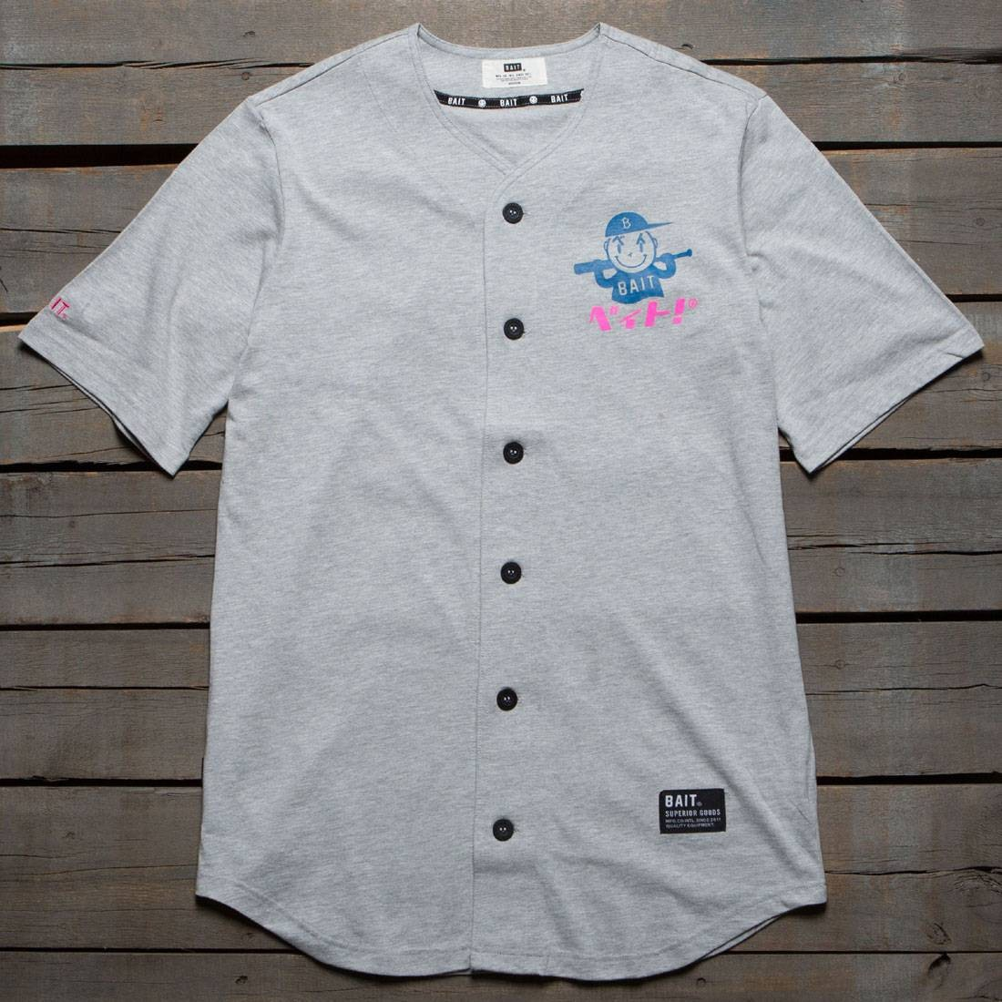BAIT Men Nippon Logo Baseball Jersey Shirt (gray)