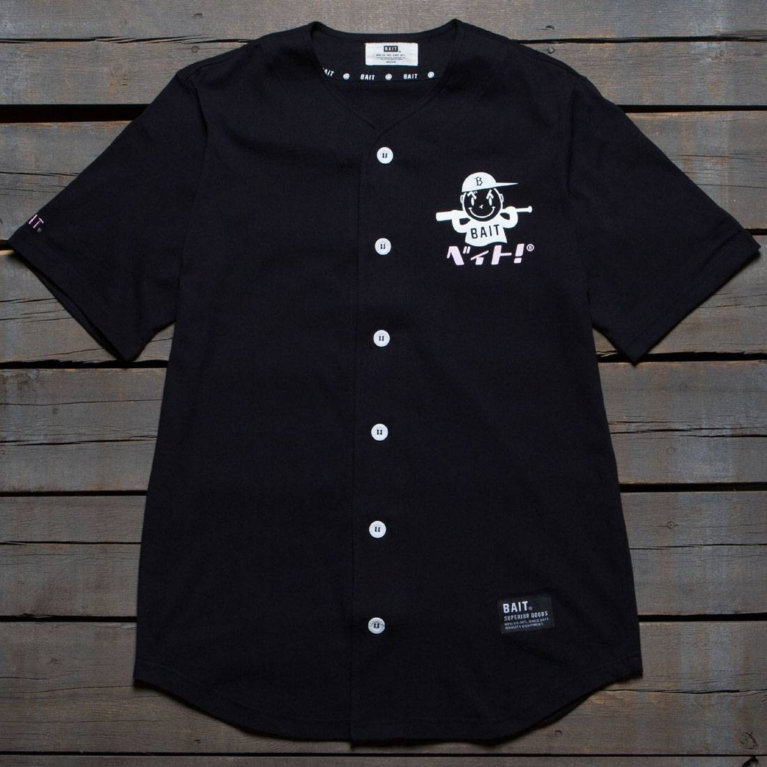 BAIT Men Nippon Logo Baseball Jersey Shirt (black)