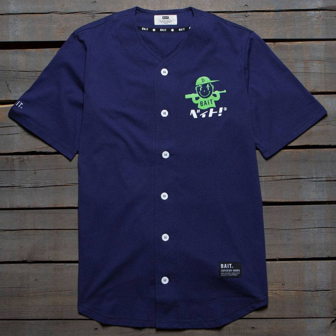 BAIT Men Nippon Logo Baseball Jersey Shirt (navy)