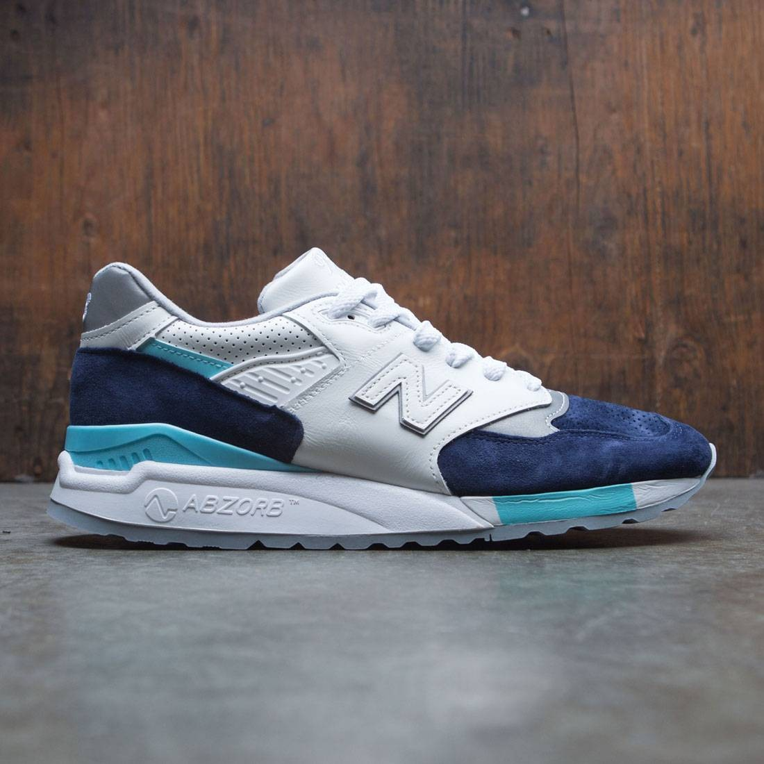 New Balance Men 998 Winter Peaks M998WTP - Made In USA (white / navy / aqua)