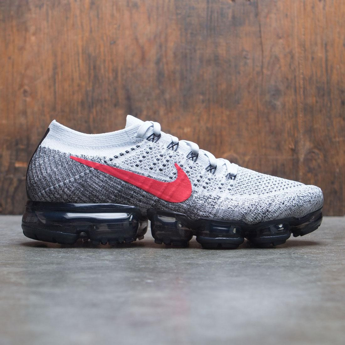low priced 06208 f55ac nike men air vapormax flyknit running pure platinum university red black