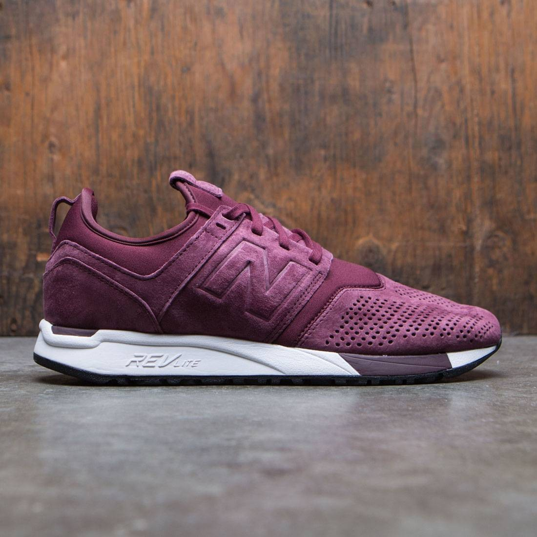 save off wholesale price on feet images of New Balance Men Suede 247 MRL247LR (burgundy / white)