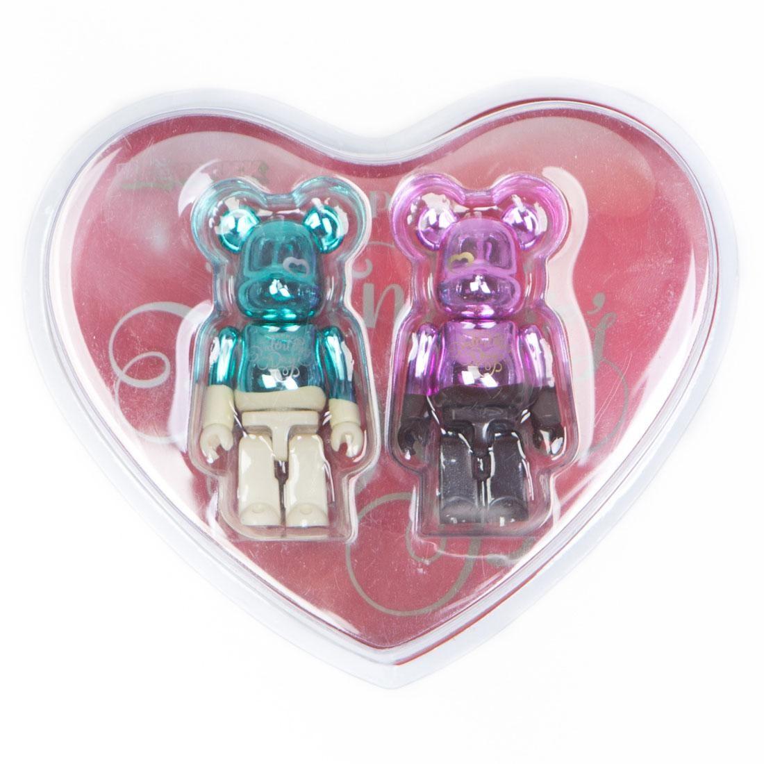 Medicom 2018 Valentine Bearbrick 2 Figure Set (teal / pink)