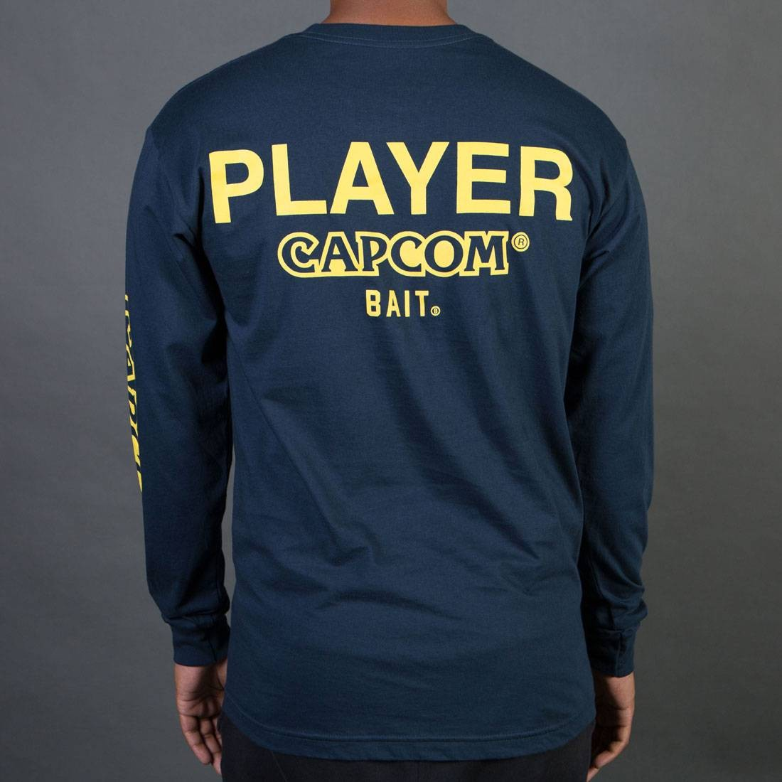BAIT x Street Fighter Men Capcom Player Long Sleeve Tee (blue)