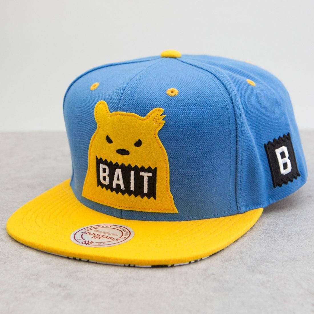 BAIT x Mitchell And Ness Bear Snapback Cap (blue / gold)