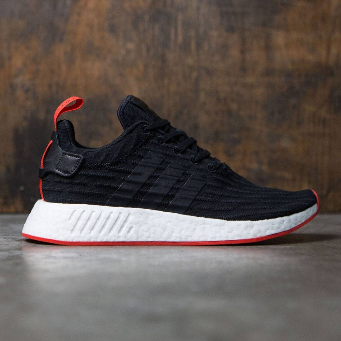81e083a0b0892 Adidas Men NMD R2 Primeknit black core black core red