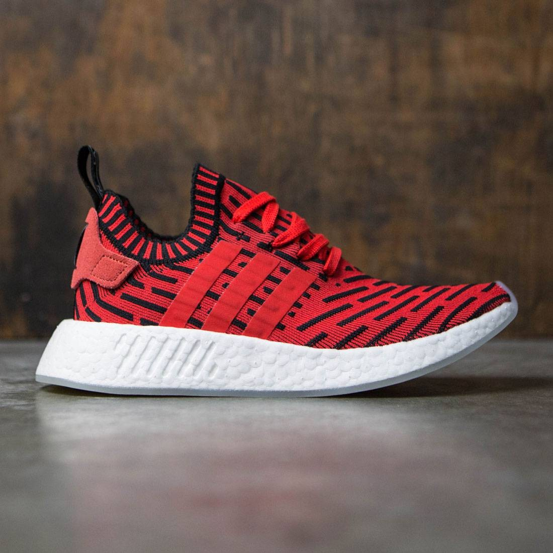 Adidas Men NMD R2 Primeknit red core red footwear white 78de384a0