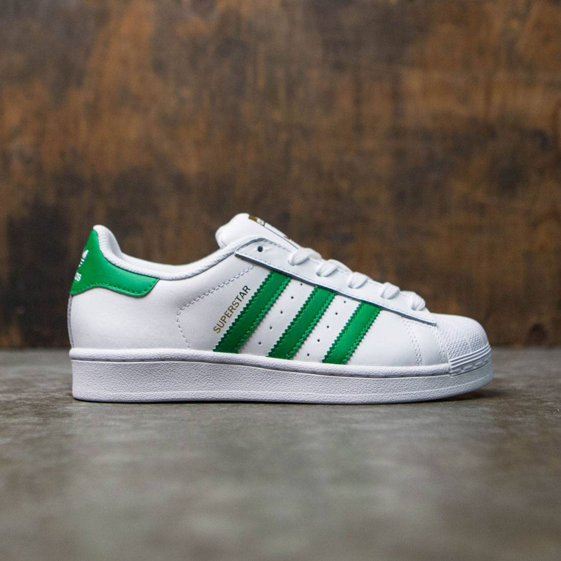 adidas superstar womens white and green