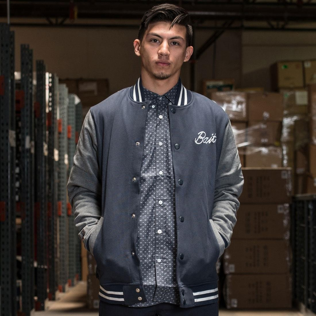 BAIT Basics Baseball Jacket (navy / grey)