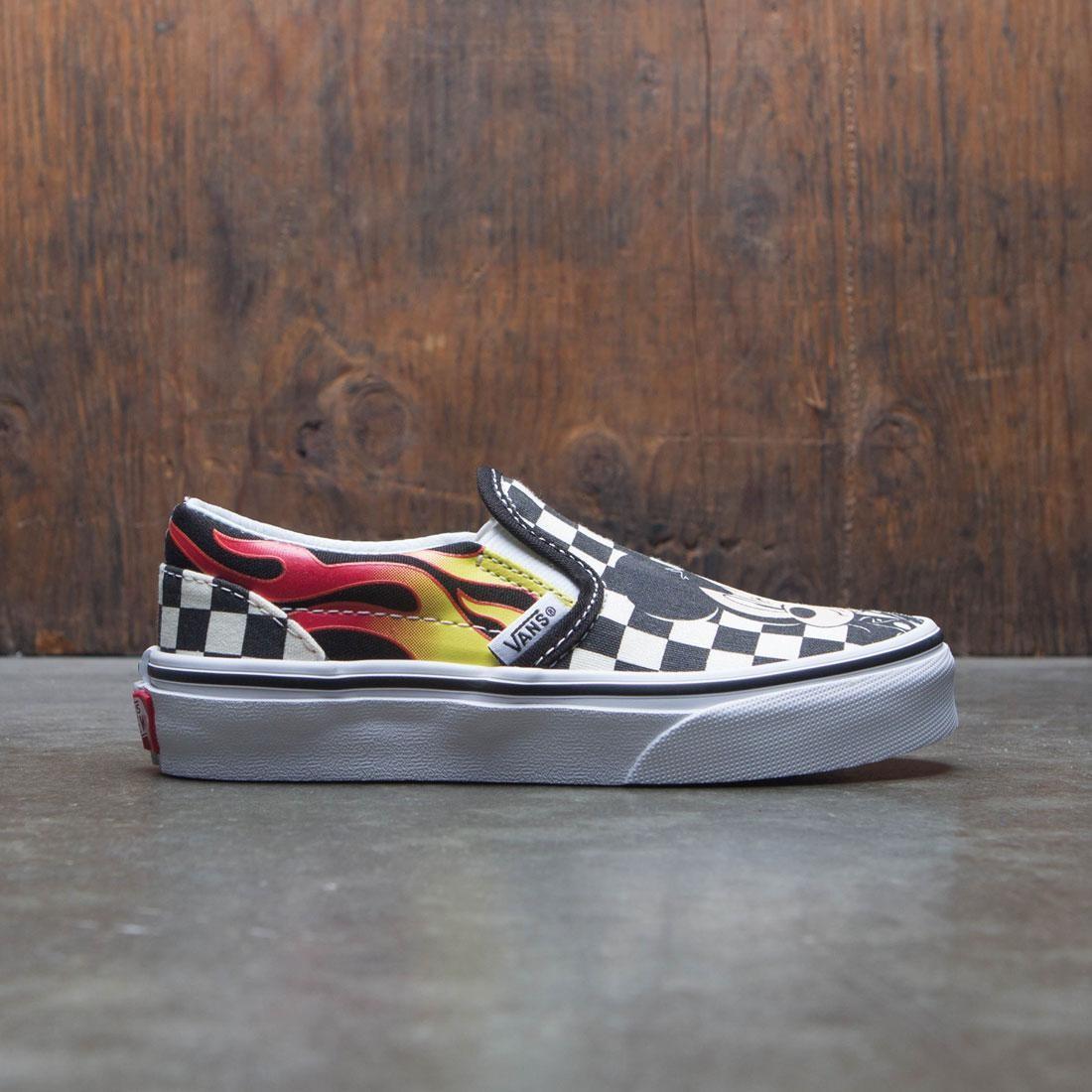 4c1fade549 Vans x Disney Big Kids Classic Slip-On - Mickey (black / checkerboard /  flame)