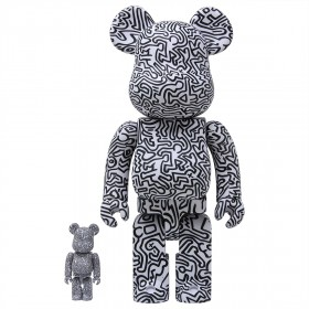 Medicom Keith Haring #4 100% 400% Bearbrick Figure Set (white)