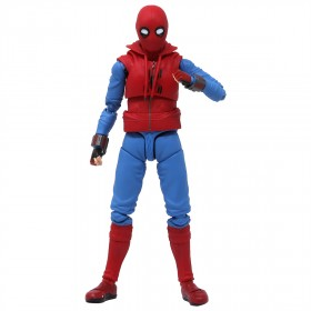 Bandai S.H.Figuarts Spider-Man Homecoming Spider-Man Home Made Suit Ver. And Tamashii Option Act Wall Figure (red)