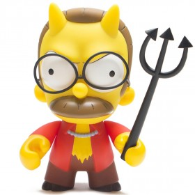 Kidrobot x The Simpsons Devil Flanders 7 Inch Medium Art Figure (brown / red / yellow)