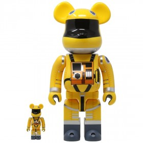 Medicom 2001 A Space Odyssey Space Suit Yellow Ver. 100% 400% Bearbrick Figure Set (yellow)