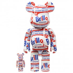 Medicom Andy Warhol Brillo 100% 400% Bearbrick Figure Set (white)