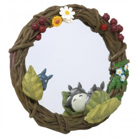 Studio Ghibli Benelic My Neighbor Totoro Hide-And-Seek Wreath Hang And Stand Mirror (brown)