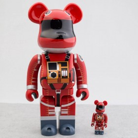 Medicom 2001 A Space Odyssey Space Suit Orange Ver 100% 400% Bearbrick Figure Set (orange)