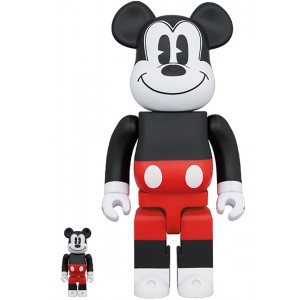 PREORDER - Medicom Disney Mickey Mouse R&W 2020 Ver. 100% 400% Bearbrick Figure Set (red)