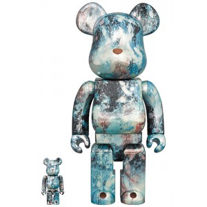 Medicom Pushead #5 100% 400% Bearbrick Figure Set (blue)