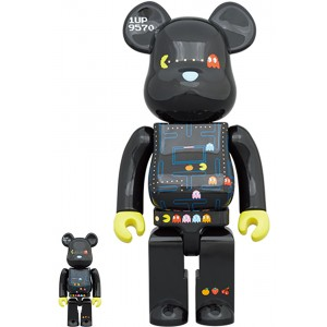 PREORDER - Medicom Pac-Man 100% 400% Bearbrick Figure Set (black)