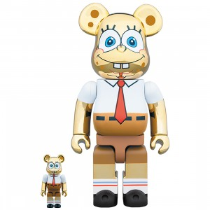PREORDER - Medicom Nickelodeon SpongeBob SquarePants Gold Chrome 100% 400% Bearbrick Figure Set (gold)