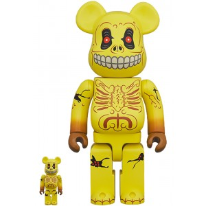 PREORDER - Medicom Madballs Skull Face 100% 400% Bearbrick Figure Set (yellow)
