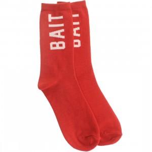 BAIT Logo Lightweight Crew Socks (red) 1S