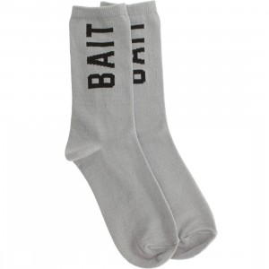 BAIT Logo Lightweight Crew Socks (gray) 1S