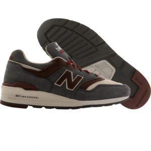 New Balance Men M997DGM - Made In USA - Horween Leather (gray / maroon)