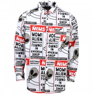 Lazy Oaf Men Wow Alien Long Sleeve Shirt (white)