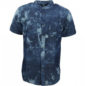 10 Deep Men Tubes Bleach Dye Short Sleeve Shirt (blue / dark bleach)