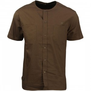 10 Deep Men Beachfront Collarless Short Sleeve Shirt (brown / army)