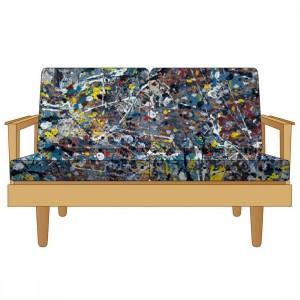 Medicom x Karimoku x SYNC x Jackson Pollock 2.0 Futarigake 2 Seat Sofa (tan)