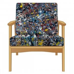Medicom x Karimoku x SYNC x Jackson Pollock 2.0 Hizikake Chair (tan)