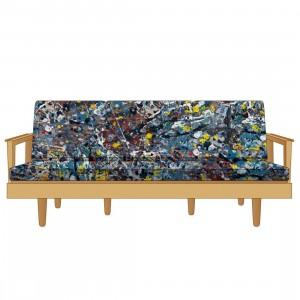 Medicom x Karimoku x SYNC x Jackson Pollock 2.0 Nagaisu 3 Seat Sofa (tan)