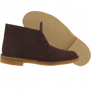 Clarks Men Desert Boot (burgundy / wine suede)