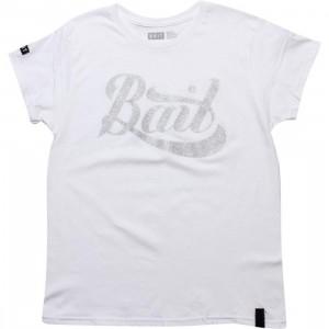 BAIT Womens Script Logo Tee (white / silver)