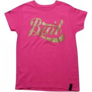 BAIT Womens Script Logo Tee (hot pink / gold)