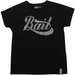 BAIT Womens Script Logo Tee (black / silver)