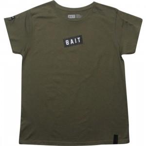 BAIT Womens Slanted Box Logo Tee (army)
