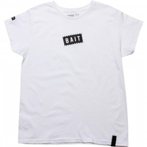 BAIT Womens Slanted Box Logo Tee (white)