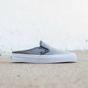Vans Women Classic Slip-On Mule - Embossed Leather (gray / true white)