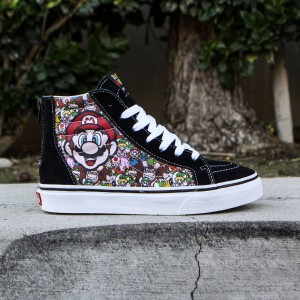 Vans x Nintendo Big Kids Sk8-Hi Zip - Mario And Luigi (black / true white)