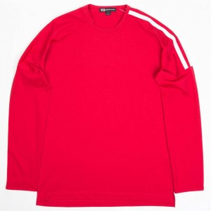 Adidas Y-3 Men 3-Stripes Long Sleeve Tee (chili pepper / core white)
