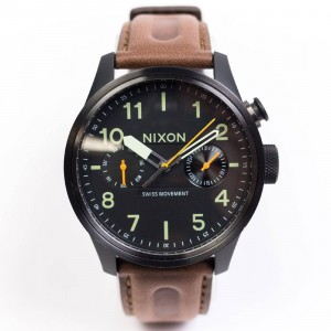 Nixon Safari Deluxe Leather Watch (black / lum)