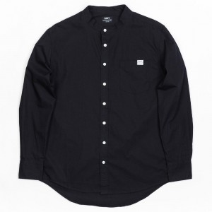 BAIT Men Mandarin Collar Button Up Shirt (black)