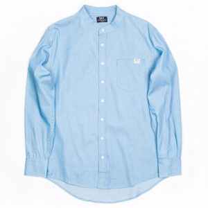 BAIT Men Mandarin Collar Button Up Shirt (light blue)