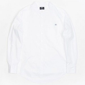BAIT Men Mandarin Collar Button Up Shirt (white)