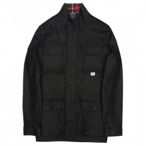 BAIT Men Denim Plaid Jacket (black)