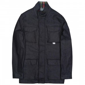 BAIT Men Denim Plaid Jacket (navy / blue)